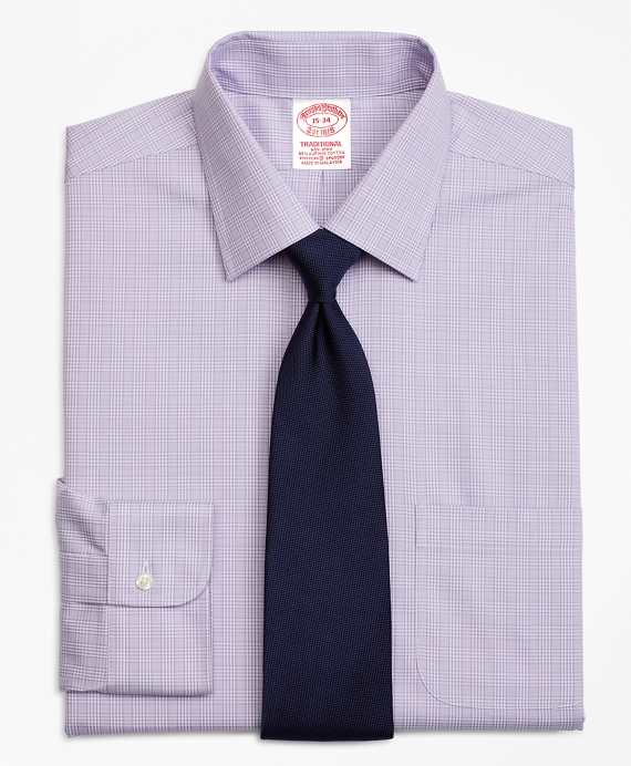Stretch Traditional Relaxed-Fit Dress Shirt, Non-Iron Glen Plaid