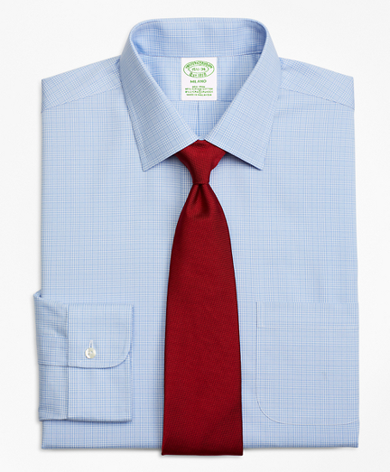 Stretch Milano Slim-Fit Dress Shirt, Non-Iron Glen Plaid