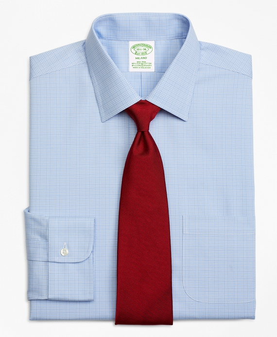 Stretch Milano Slim-Fit Dress Shirt, Non-Iron Glen Plaid Blue