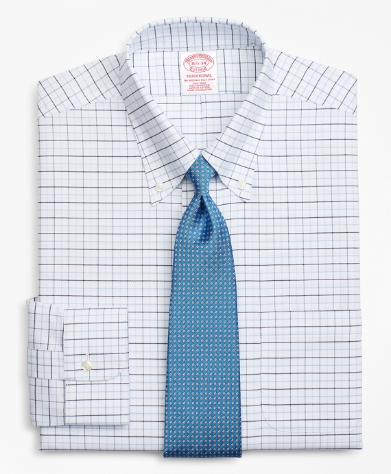 BrooksCool® Traditional Relaxed-Fit Dress Shirt, Non-Iron Windowpane Blue