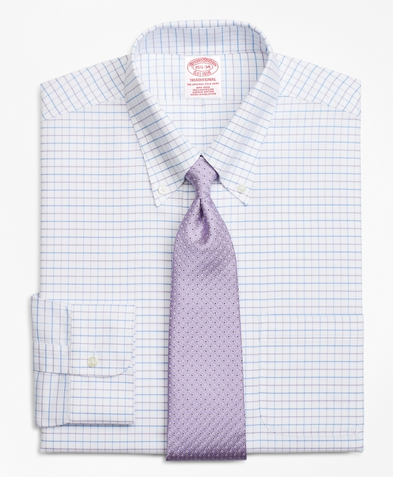 BrooksCool® Traditional Relaxed-Fit Dress Shirt, Non-Iron Windowpane Violet