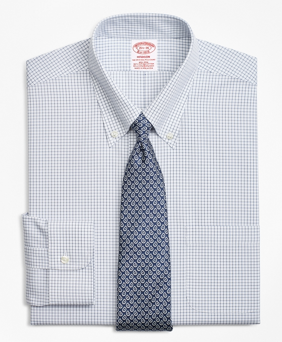 Stretch Madison Relaxed-Fit Dress Shirt, Non-Iron Windowpane Navy