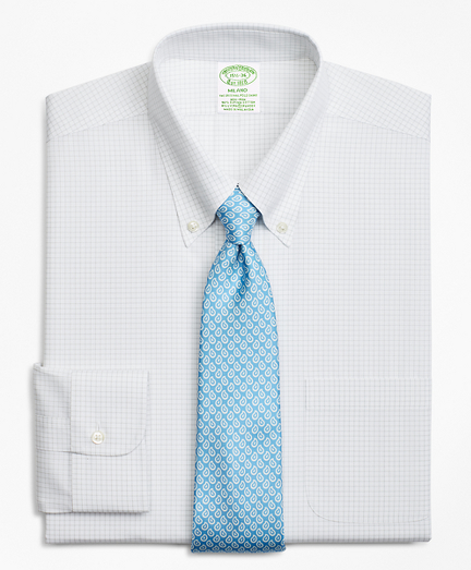 Brooksbrothers Stretch Milano Slim-Fit Dress Shirt, Non-Iron Windowpane