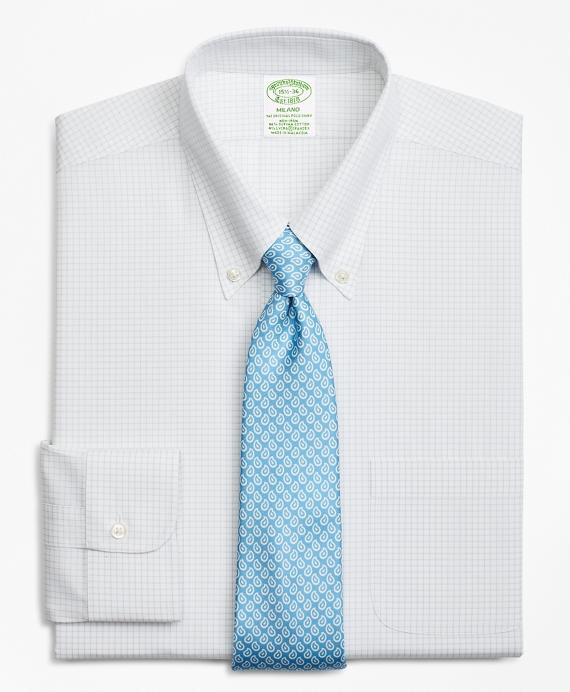 Stretch Milano Slim-Fit Dress Shirt, Non-Iron Windowpane Grey