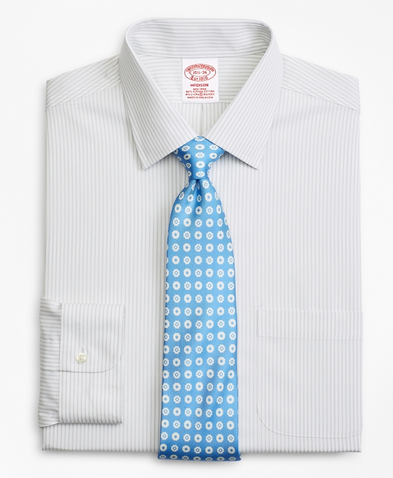 Stretch Madison Classic-Fit Dress Shirt, Non-Iron Stripe Grey