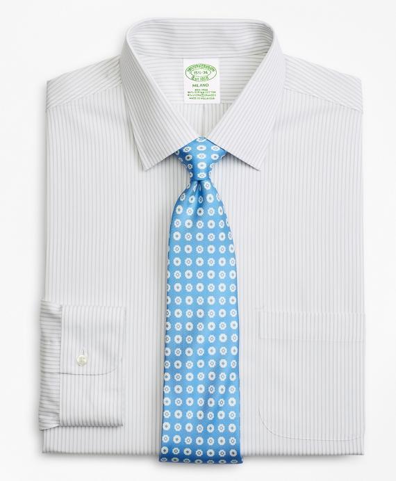 Stretch Milano Slim-Fit Dress Shirt, Non-Iron Stripe Grey