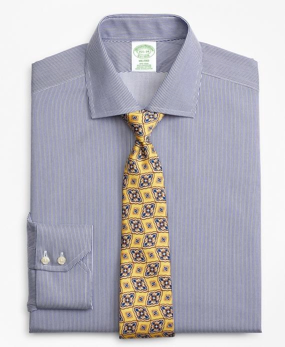 Milano Slim-Fit Dress Shirt, Non-Iron Stripe Navy