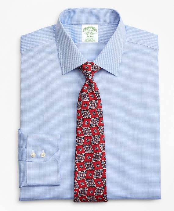 Milano Slim-Fit Dress Shirt, Non-Iron Check Blue