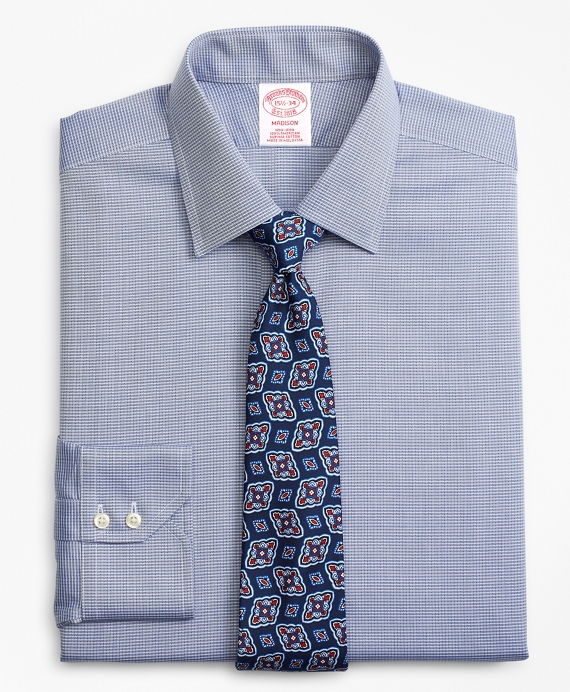 Madison Relaxed-Fit Dress Shirt, Non-Iron Check Navy
