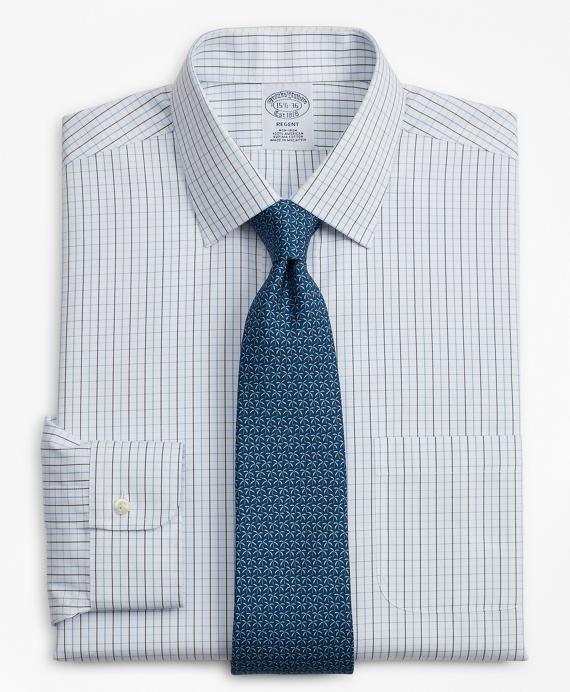 Regent Regular-Fit Dress Shirt, Non-Iron Grid Check Blue