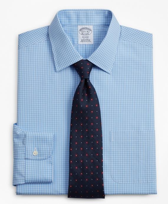 Regent Fitted Dress Shirt, Non-Iron Windowpane Blue