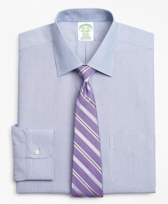 Milano Slim-Fit Dress Shirt, Non-Iron Herringbone Navy