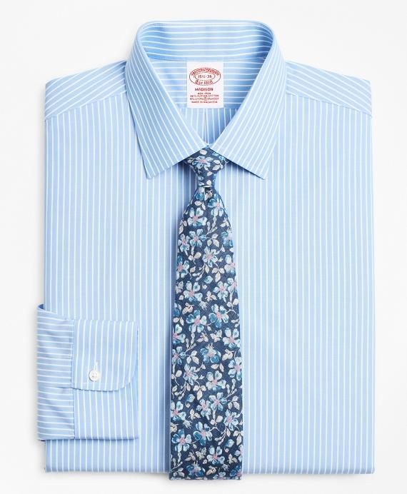 Stretch Madison Classic-Fit Dress Shirt, Non-Iron Ground Stripe Blue