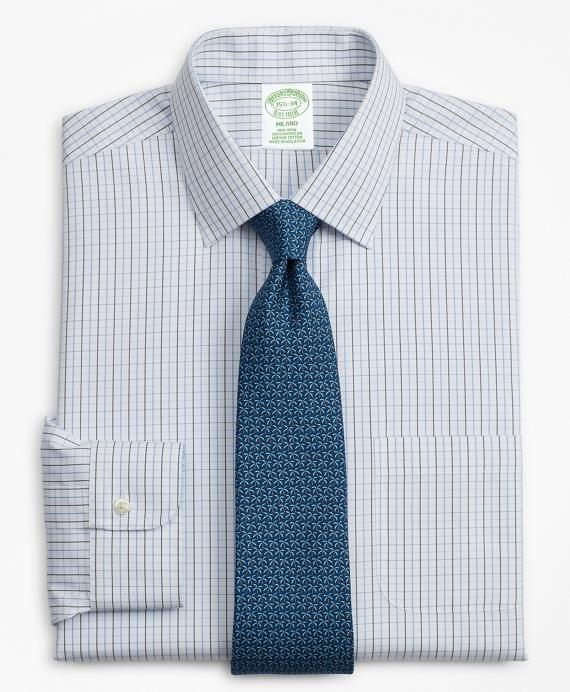 Milano Slim-Fit Dress Shirt, Non-Iron Grid Check Blue
