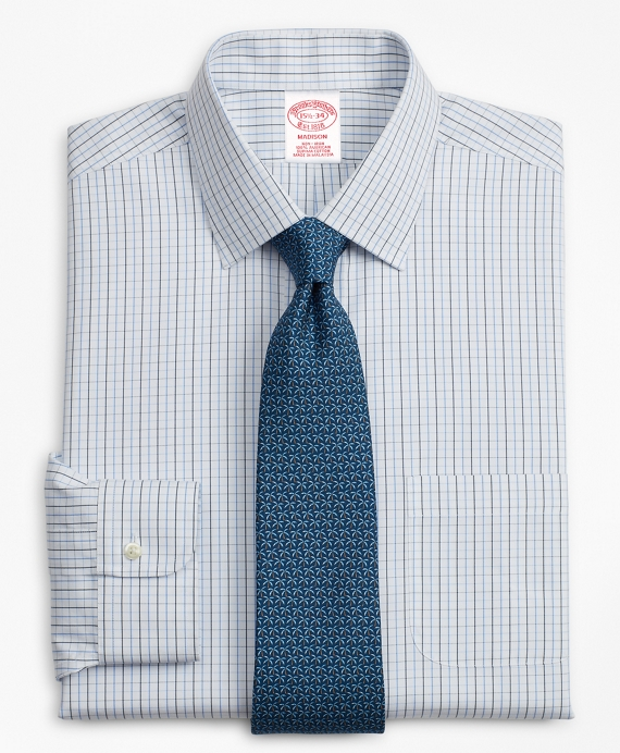 Madison Relaxed-Fit Dress Shirt, Non-Iron Grid Check Blue