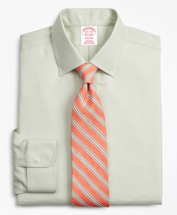 Madison Relaxed-Fit Dress Shirt, Non-Iron Dobby Light Green