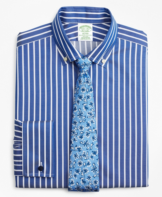 Milano Slim-Fit Dress Shirt, Non-Iron Bengal Stripe Blue