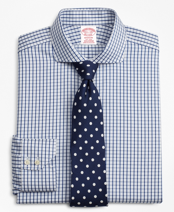 Madison Classic-Fit Dress Shirt, Non-Iron Windowpane White
