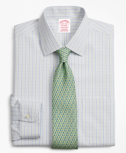 Traditional Relaxed-Fit Dress Shirt, Non-Iron Grid Check