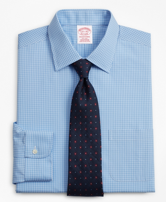Traditional Relaxed-Fit Dress Shirt, Non-Iron Windowpane Blue
