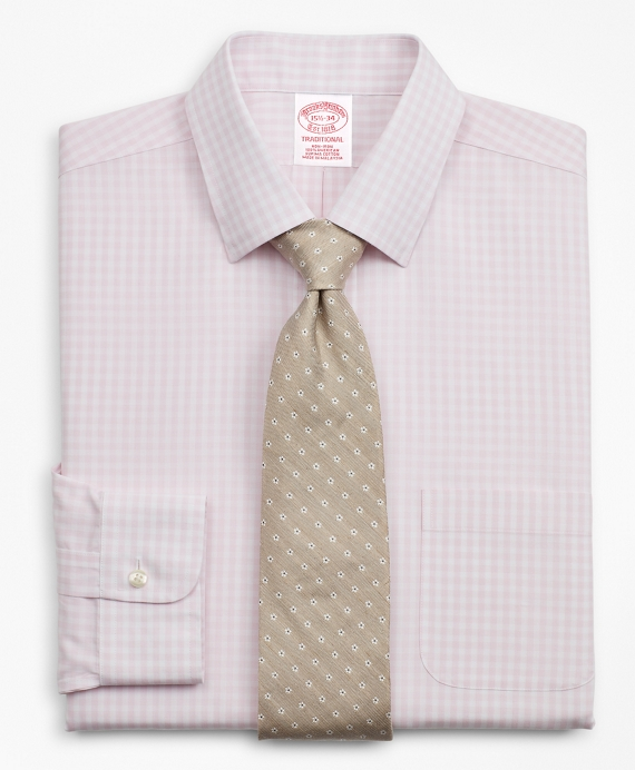 Traditional Extra-Relaxed-Fit Dress Shirt, Non-Iron Check Pink