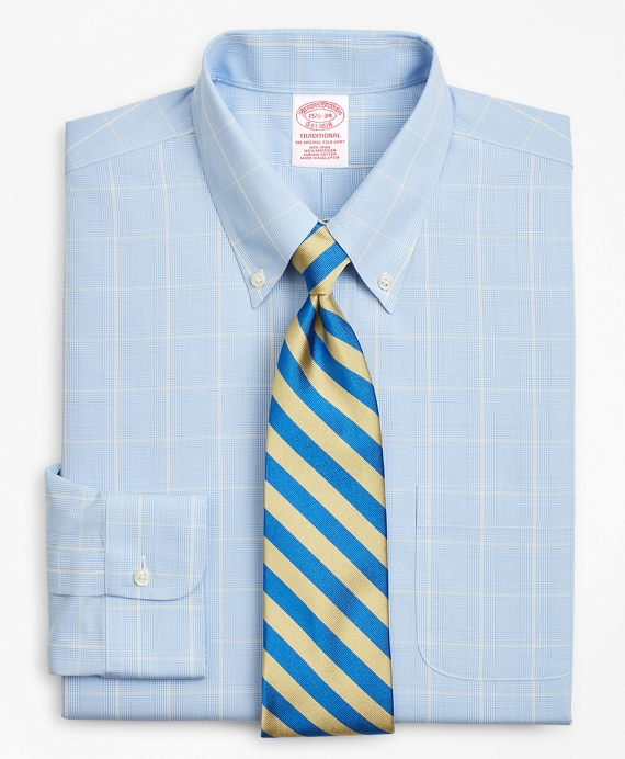 Traditional Relaxed-Fit, Non-Iron Glen Plaid Blue