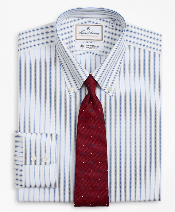 Luxury Collection Regent Fitted Dress Shirt, Button-Down Collar Stripe Blue