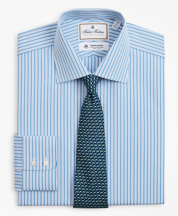 Luxury Collection Regent Fitted Dress Shirt, Franklin Spread Collar Pinstripe Light Blue