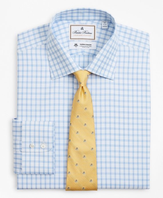 Luxury Collection Regent Fitted Dress Shirt, Franklin Spread Collar Check Blue