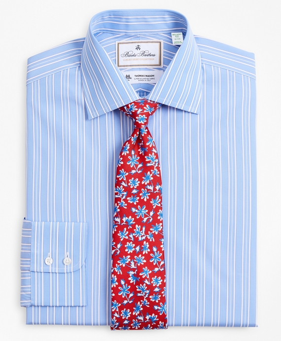 Luxury Collection Milano Slim-Fit Dress Shirt, Franklin Spread Collar Ribbon Stripe Light Blue