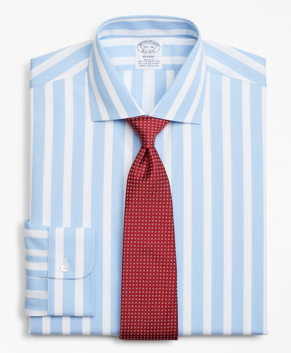 Stretch Regent Fitted Dress Shirt, Non-Iron Bold Stripe Light Blue