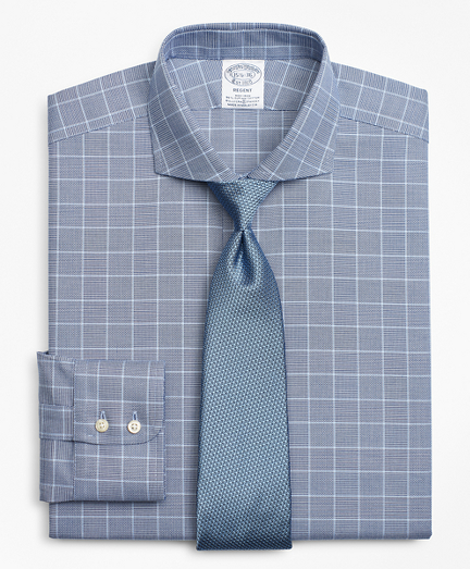 Stretch Regent Fitted Dress Shirt, Non-Iron Royal Oxford Glen Plaid