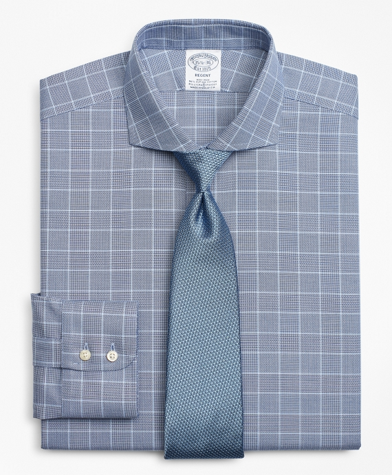Stretch Regent Fitted Dress Shirt, Non-Iron Royal Oxford Glen Plaid Navy