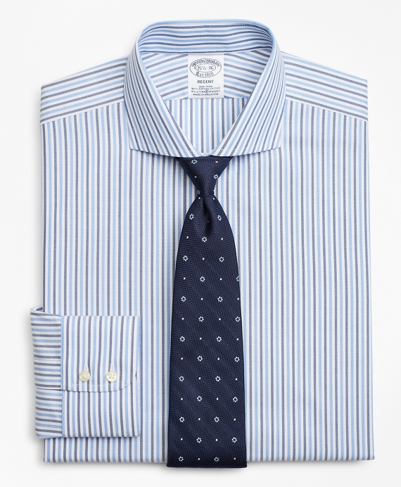 Stretch Regent Fitted Dress Shirt, Non-Iron Royal Oxford Stripe Blue