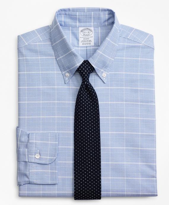 Original Polo® Button-Down Oxford Regent Fitted Dress Shirt, Glen Plaid Blue