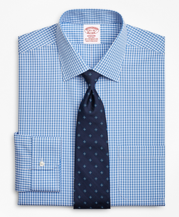 Stretch Madison Relaxed-Fit Dress Shirt, Non-Iron Gingham Blue