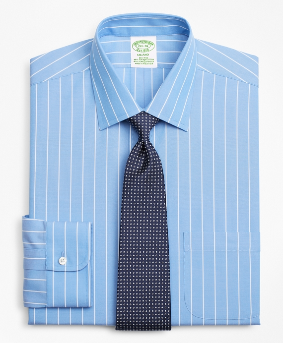 Stretch Milano Slim-Fit Dress Shirt, Non-Iron Stripe Blue