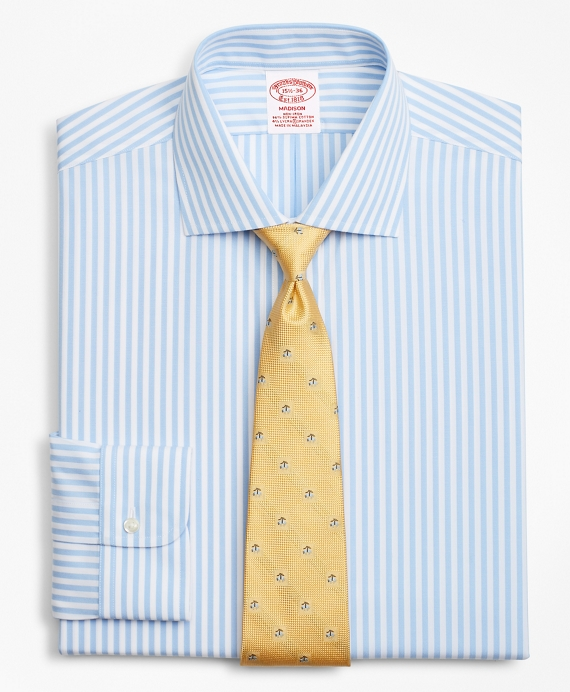 Stretch Madison Classic-Fit Dress Shirt, Non-Iron Bengal Stripe Blue