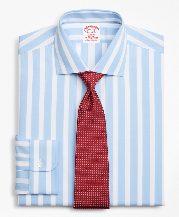 Stretch Madison Classic-Fit Dress Shirt, Non-Iron Bold Stripe Blue