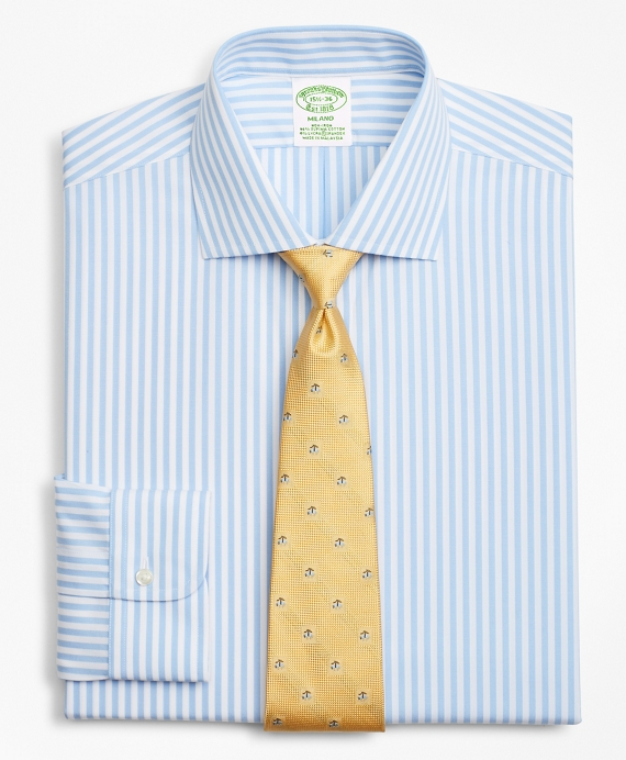 Stretch Milano Slim-Fit Dress Shirt, Non-Iron Bengal Stripe Blue