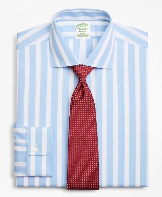 Stretch Milano Slim-Fit Dress Shirt, Non-Iron Bold Stripe Blue