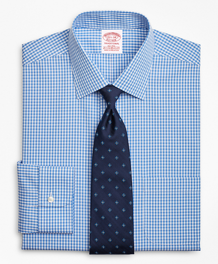 Stretch Traditional Relaxed-Fit Dress Shirt, Non-Iron Gingham