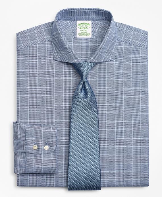 Stretch Milano Slim-Fit Dress Shirt, Non-Iron Royal Oxford Glen Plaid Navy