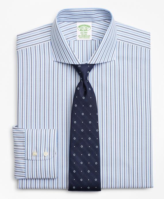 Stretch Milano Slim-Fit Dress Shirt, Non-Iron Royal Oxford Stripe Blue