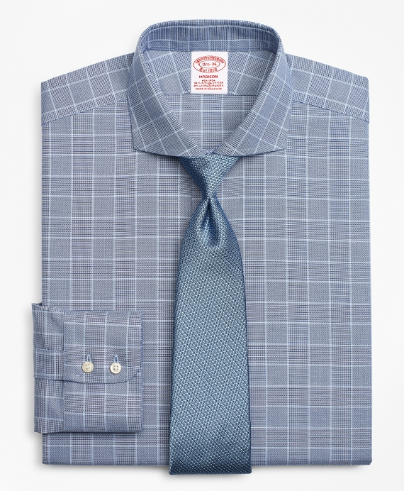 Stretch Madison Relaxed-Fit Dress Shirt, Non-Iron Royal Oxford Glen Plaid Navy