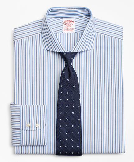 Stretch Madison Classic-Fit Dress Shirt, Non-Iron Royal Oxford Stripe