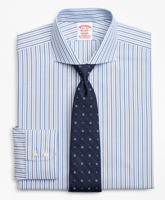 Stretch Madison Classic-Fit Dress Shirt, Non-Iron Royal Oxford Stripe Blue