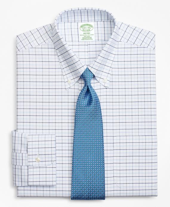 BrooksCool® Milano Slim-Fit Dress Shirt, Non-Iron Windowpane Blue