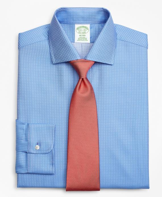 Milano Slim-Fit Dress Shirt, Non-Iron Dobby Dot Blue