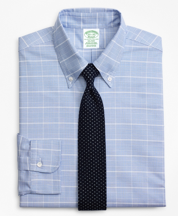 Original Polo® Button-Down Oxford Milano Slim-Fit Dress Shirt, Glen Plaid Blue